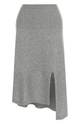 Однотонная кашемировая юбка-миди Barrie серая | Фото №1