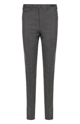 Шерстяные брюки прямого кроя PT01 темно-серые | Фото №1