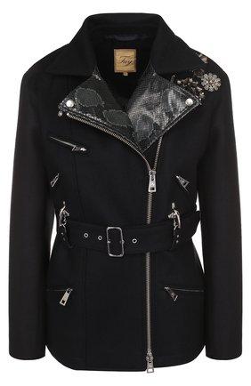 Шерстяная куртка с косой молнией и поясом Fay темно-синяя | Фото №1