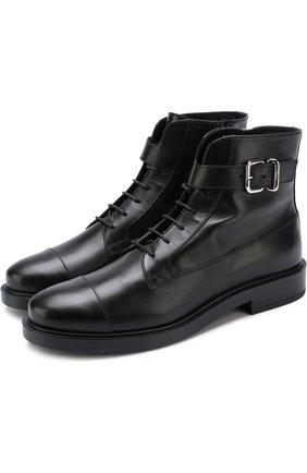 Кожаные ботинки на шнуровке Tod's черные   Фото №1