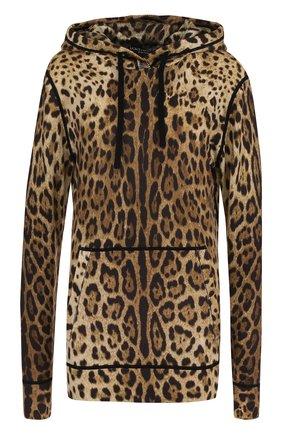 Кашемировый пуловер с капюшоном и леопардовым принтом | Фото №1