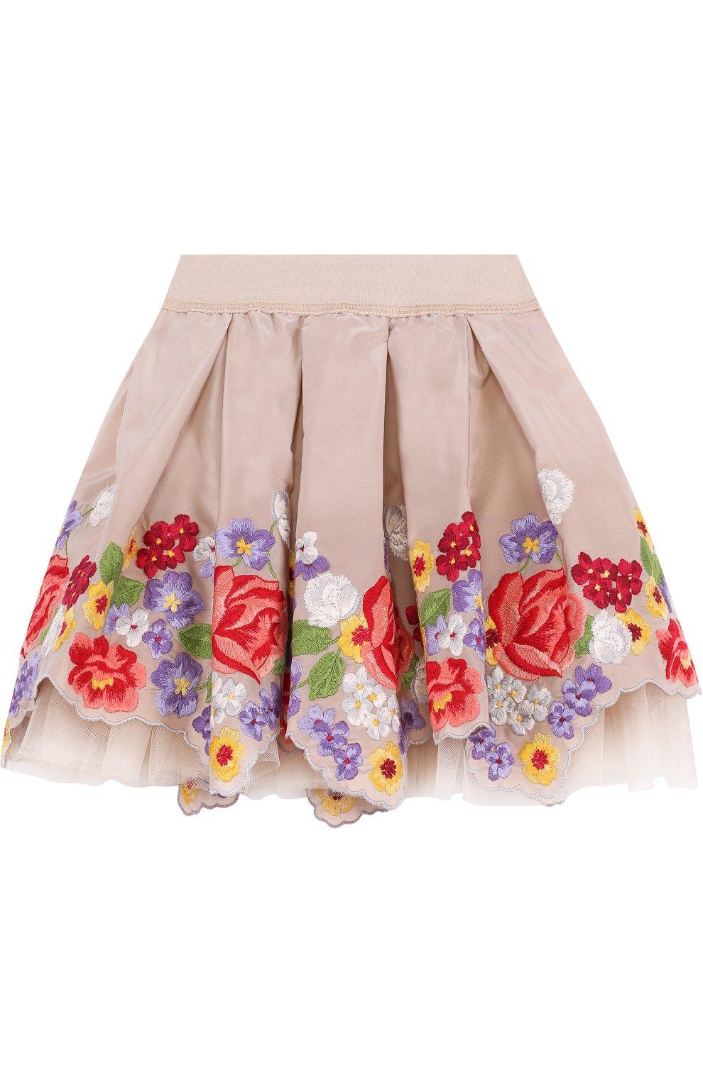 Многослойная мини-юбка с вышивкой и фигурным подолом | Фото №1