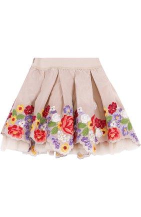 Многослойная мини-юбка с вышивкой и фигурным подолом | Фото №2