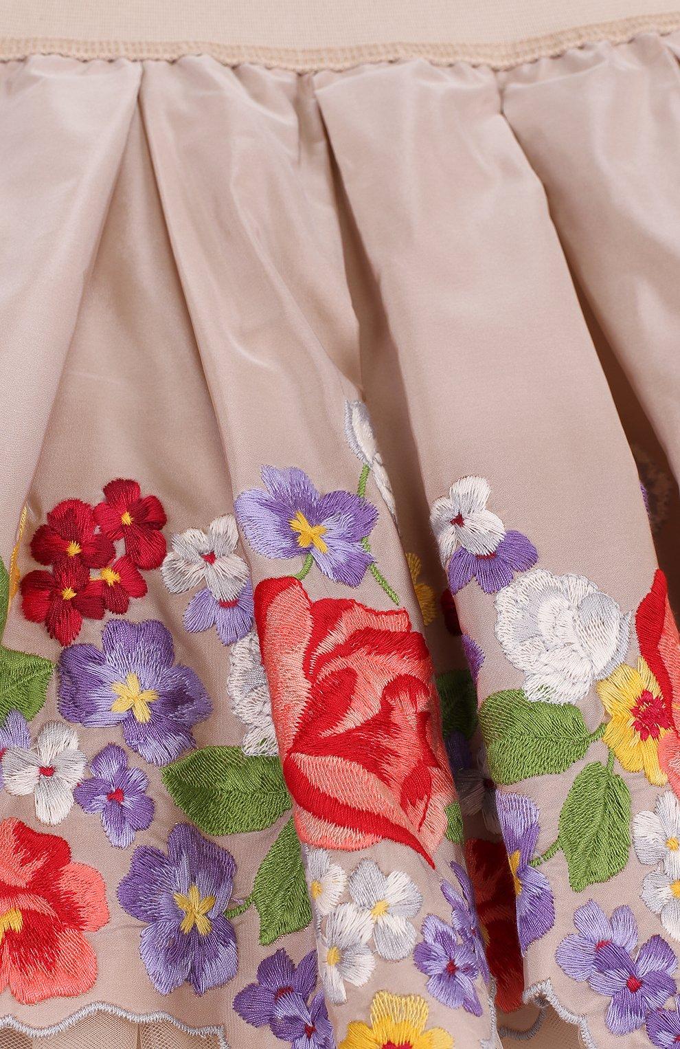 Многослойная мини-юбка с вышивкой и фигурным подолом | Фото №3
