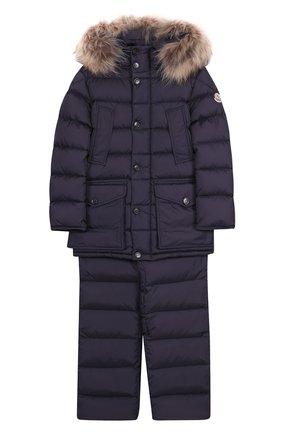 Детского комплект из пуховой куртки с капюшоном и брюк на подтяжках MONCLER ENFANT темно-синего цвета, арт. C2-954-70339-25-68352/8-10A | Фото 1