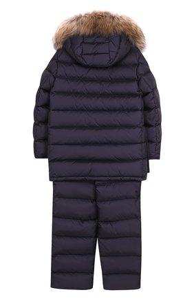 Детского комплект из пуховой куртки с капюшоном и брюк на подтяжках MONCLER ENFANT темно-синего цвета, арт. C2-954-70339-25-68352/8-10A | Фото 2