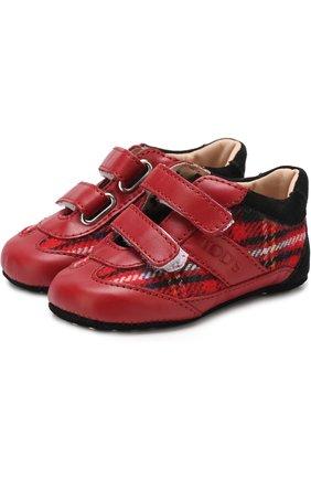 Детского кожаные пинетки с застежками велькро и текстильной отделкой TOD'S красного цвета, арт. UXB00G0B010I010ZVS | Фото 1