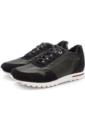 Кожаные кроссовки с отделкой из меха | Фото №1