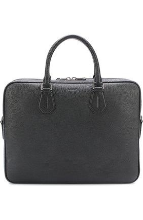 Кожаная сумка для ноутбука Bally черная | Фото №1