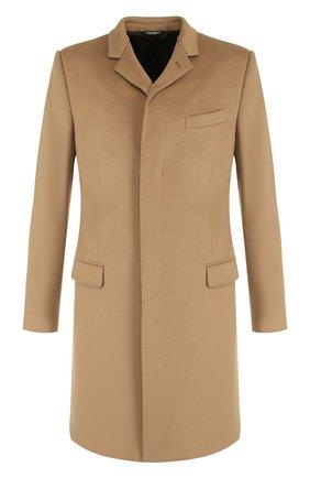 Однобортное пальто из смеси шерсти и кашемира  Dolce & Gabbana бежевого цвета | Фото №1