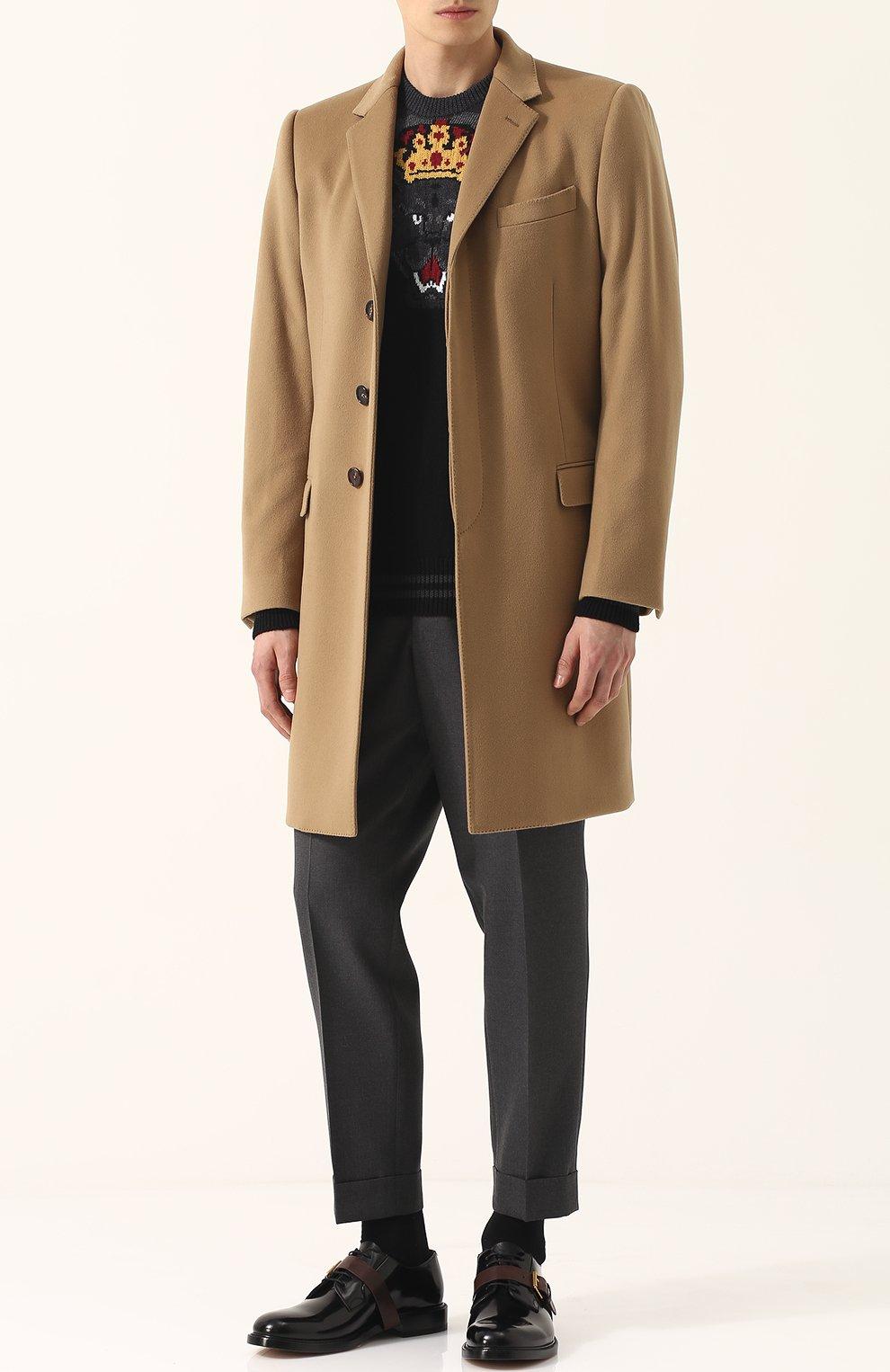 Однобортное пальто из смеси шерсти и кашемира  Dolce & Gabbana бежевого цвета | Фото №2