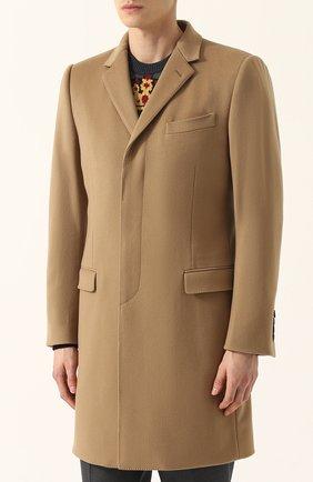 Однобортное пальто из смеси шерсти и кашемира  Dolce & Gabbana бежевого цвета | Фото №3
