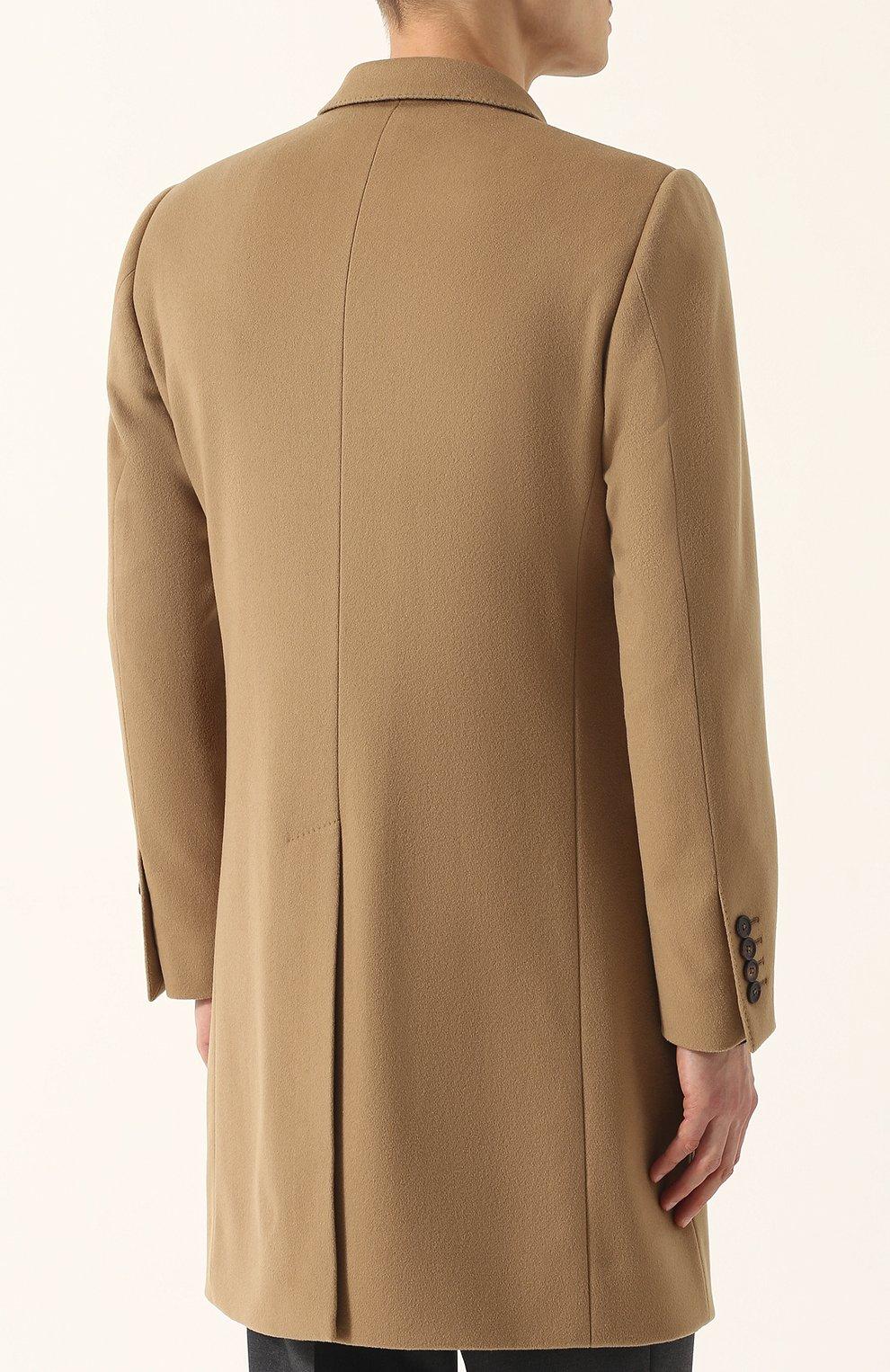 Однобортное пальто из смеси шерсти и кашемира  Dolce & Gabbana бежевого цвета | Фото №4