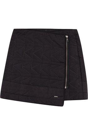 Стеганая мини-юбка с косой молнией | Фото №1