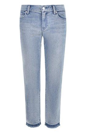 Укороченные джинсы прямого кроя с потертостями ... 0b7b9813b5c