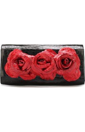 Клатч из кожи каймана Nancy Gonzalez черного цвета | Фото №1