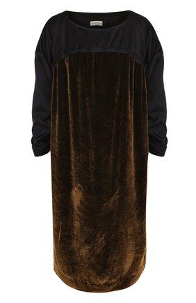Платье-миди с круглым вырезом и бархатной вставкой   Фото №1