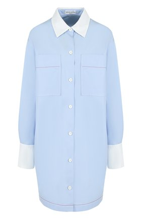 Удлиненная хлопковая блуза свободного кроя   Фото №1