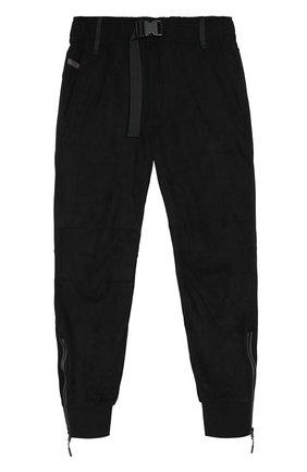 Укороченные брюки прямого кроя с манжетами Diesel черные   Фото №1