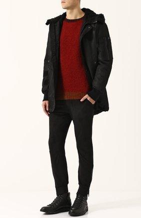 Укороченные брюки прямого кроя с манжетами Diesel черные   Фото №2
