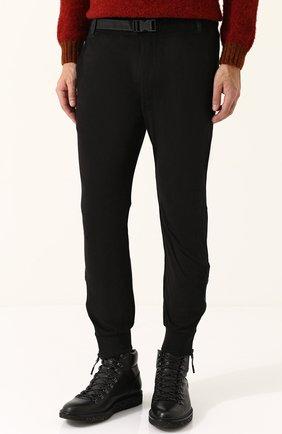 Укороченные брюки прямого кроя с манжетами Diesel черные   Фото №3