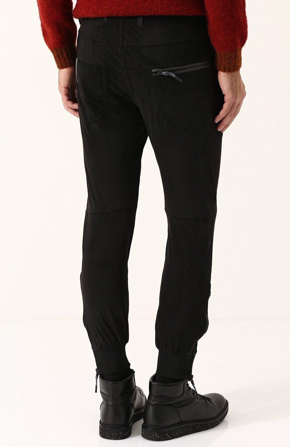 Укороченные брюки прямого кроя с манжетами Diesel черные   Фото №4