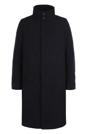 Однобортное шерстяное пальто с воротником-стойкой   Фото №1