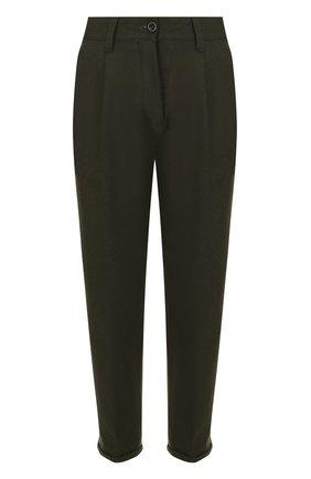 Шерстяные брюки прямого кроя PT01 темно-зеленые | Фото №1