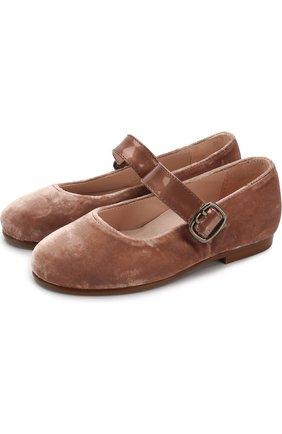 Текстильные туфли с лаковым ремешком | Фото №1