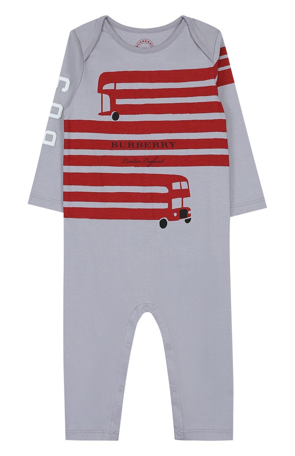 Детский хлопковая пижама с принтом BURBERRY серого цвета, арт. 4059555   Фото 1