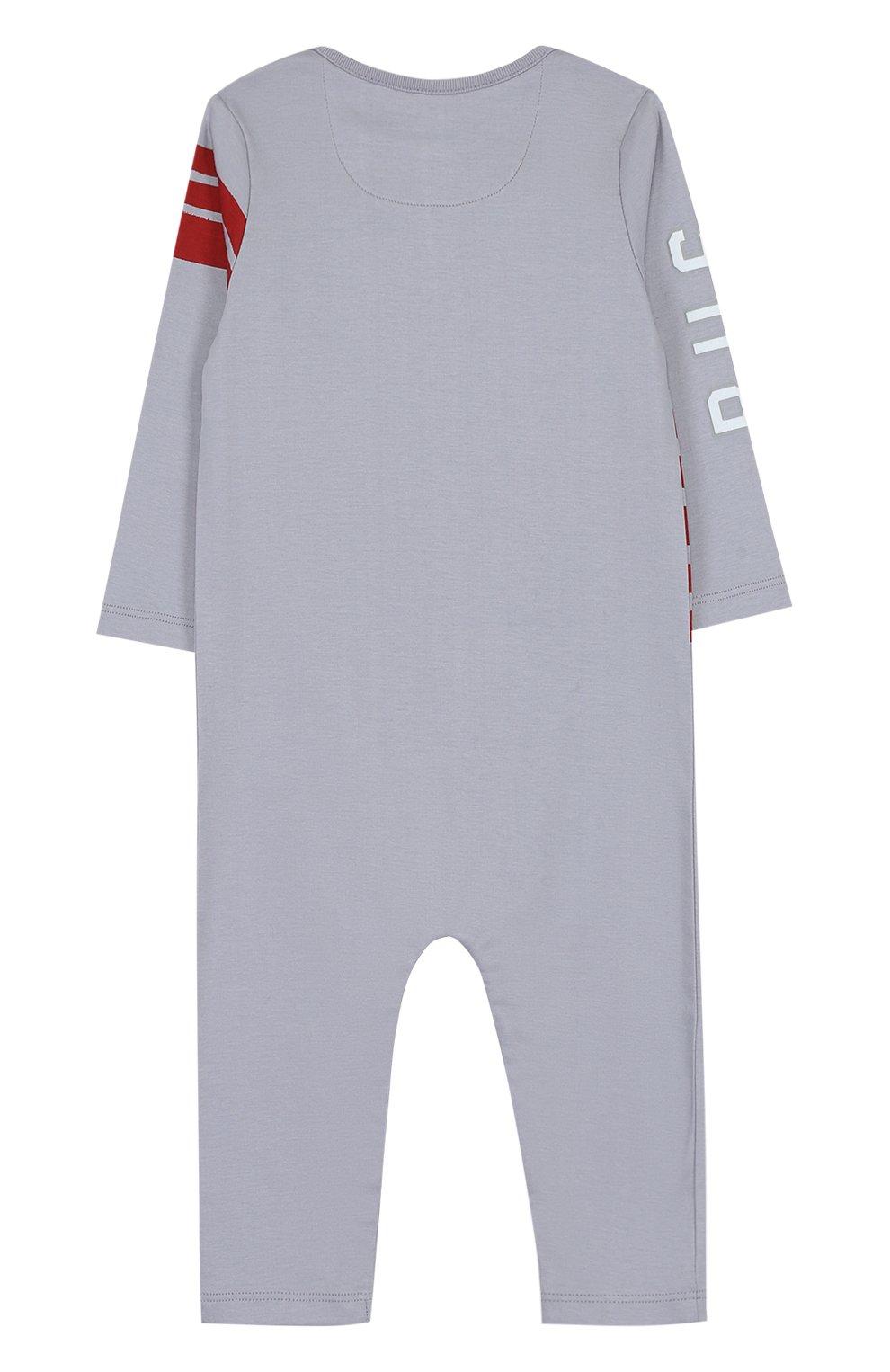 Детский хлопковая пижама с принтом BURBERRY серого цвета, арт. 4059555   Фото 2