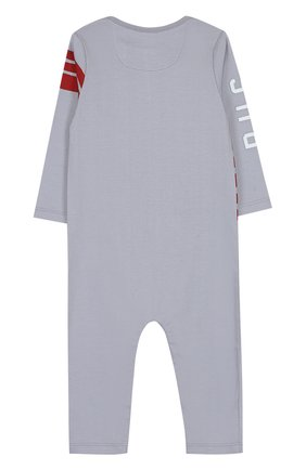 Детский хлопковая пижама с принтом BURBERRY серого цвета, арт. 4059555 | Фото 2