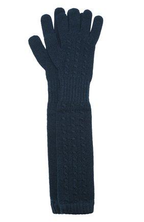 Удлиненные перчатки из кашемира Kashja` Cashmere темно-зеленые   Фото №1