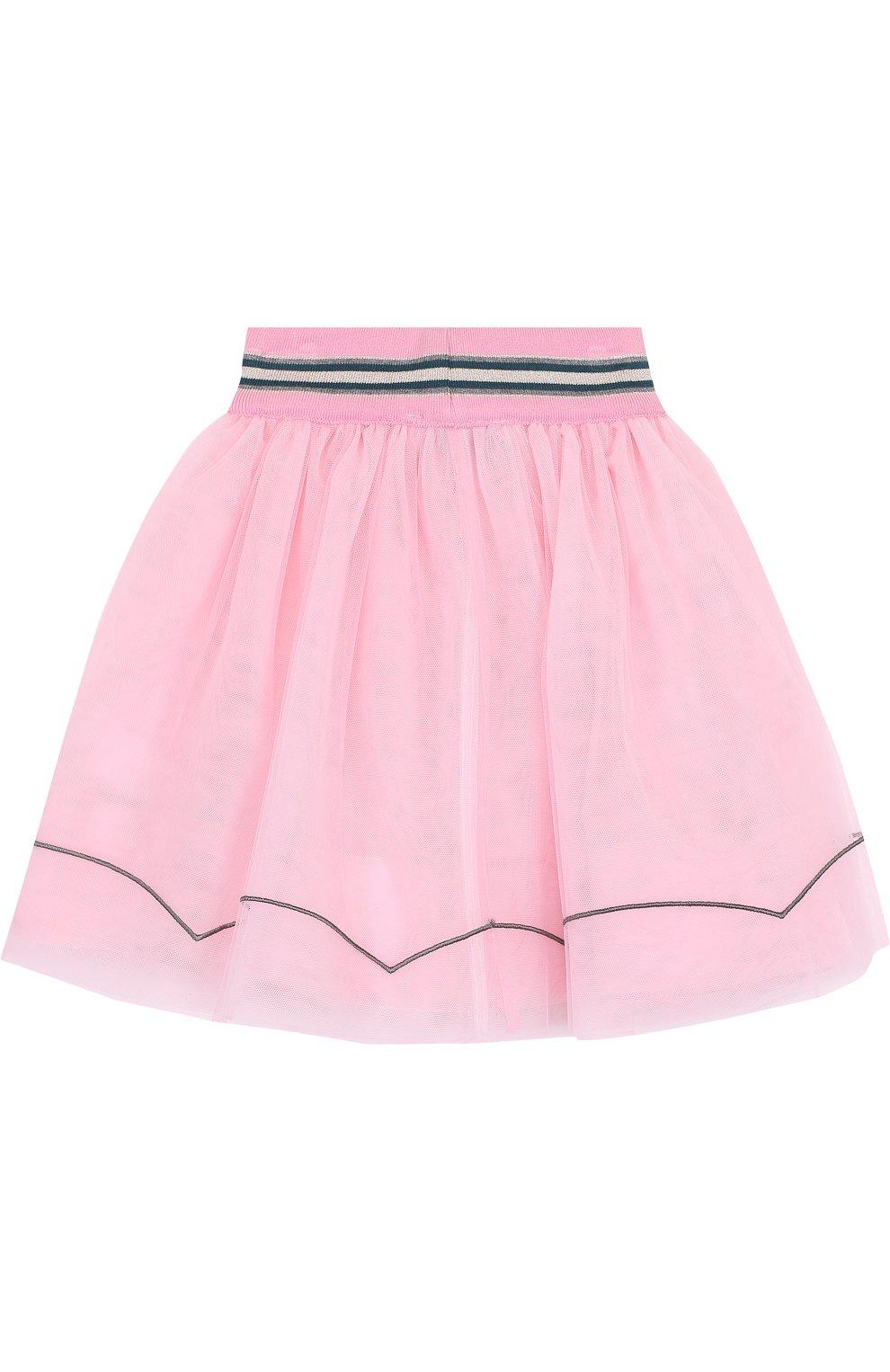 Многослойная юбка с аппликациями и широким эластичным поясом   Фото №2