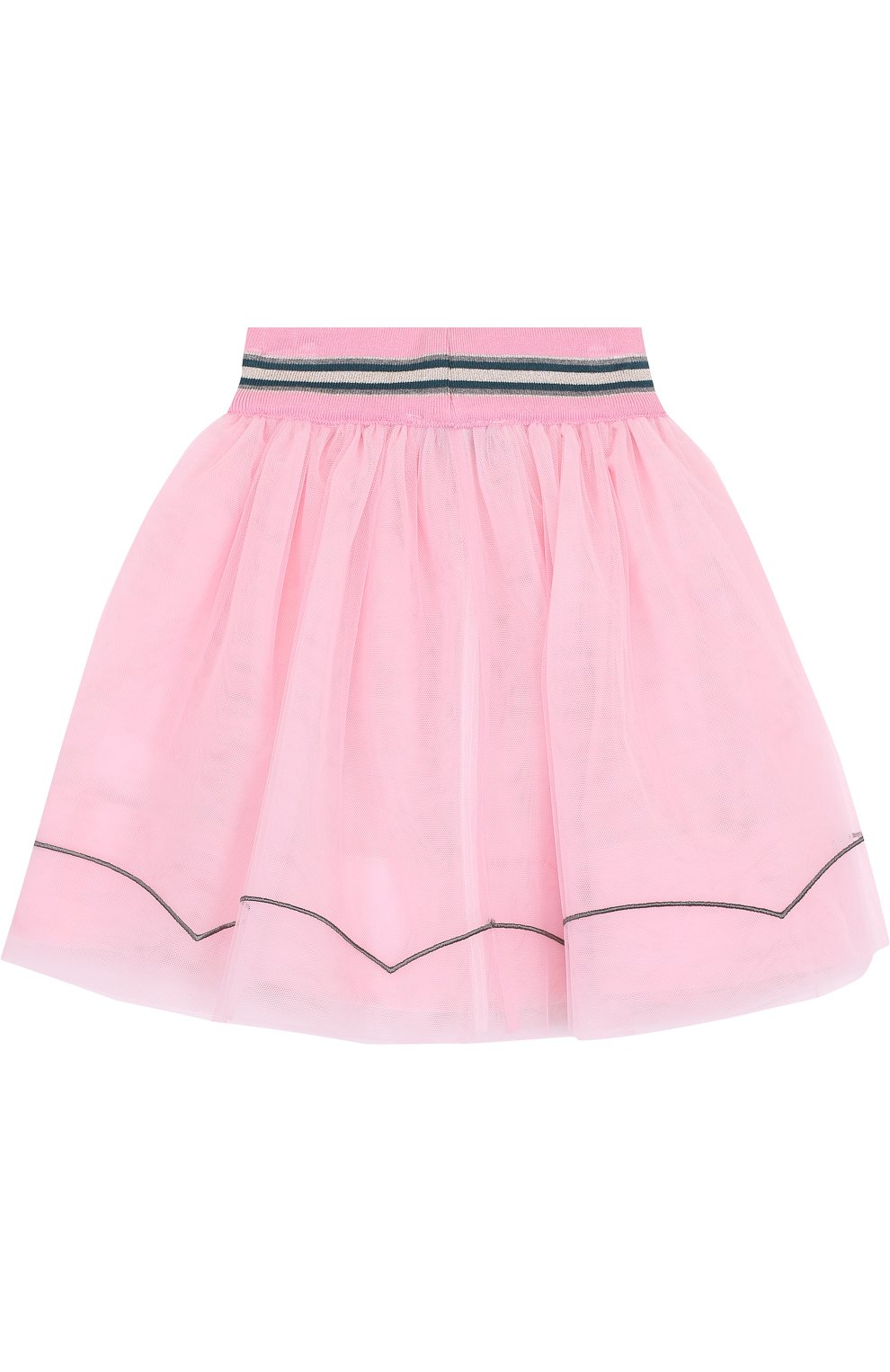 Многослойная юбка с аппликациями и широким эластичным поясом | Фото №2