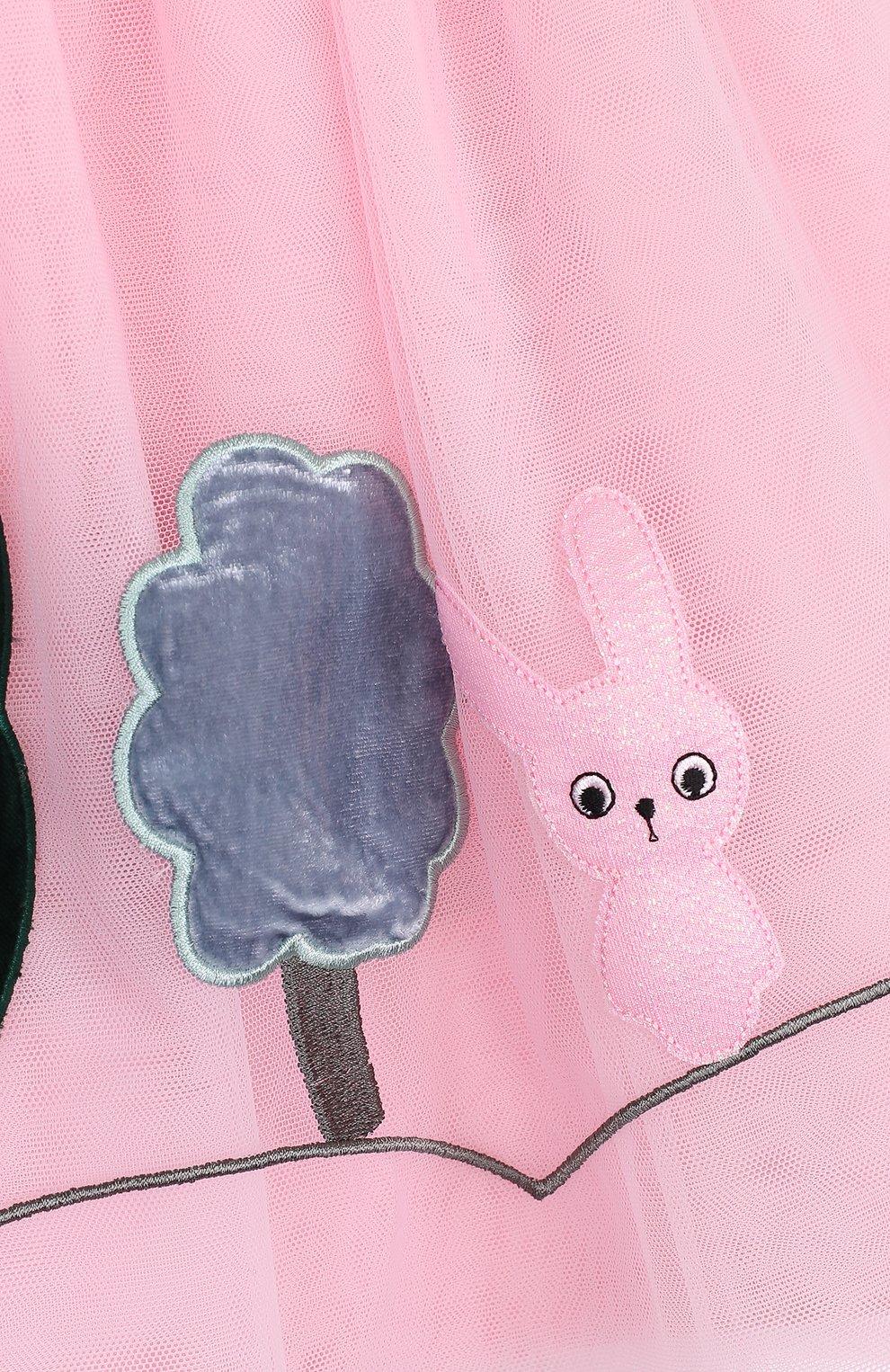 Многослойная юбка с аппликациями и широким эластичным поясом | Фото №3