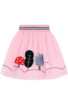 Детская многослойная юбка с аппликациями и широким эластичным поясом Simonetta Mini розового цвета | Фото №1