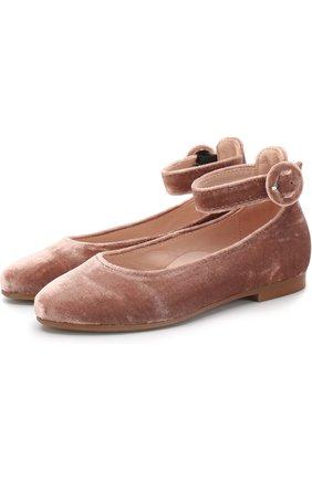 Бархатные туфли с ремешком на щиколотке | Фото №1