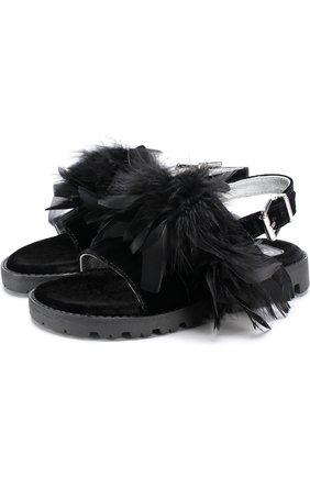 Детские текстильные сандалии с декоративной отделкой Quis Quis черного цвета | Фото №1