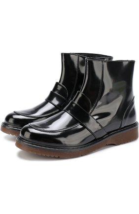 Ботинки из лаковой кожи с перемычкой | Фото №1