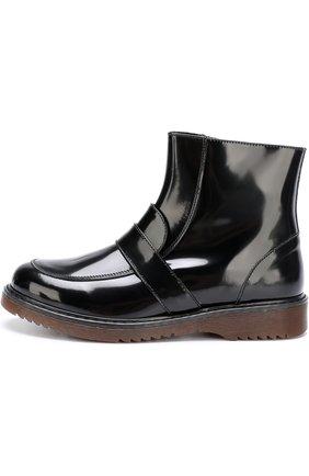 Детские лаковые ботинки с перемычкой Montelpare Tradition черного цвета | Фото №1