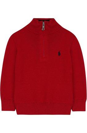 Вязаный свитер с логотипом бренда и воротником на молнии   Фото №1