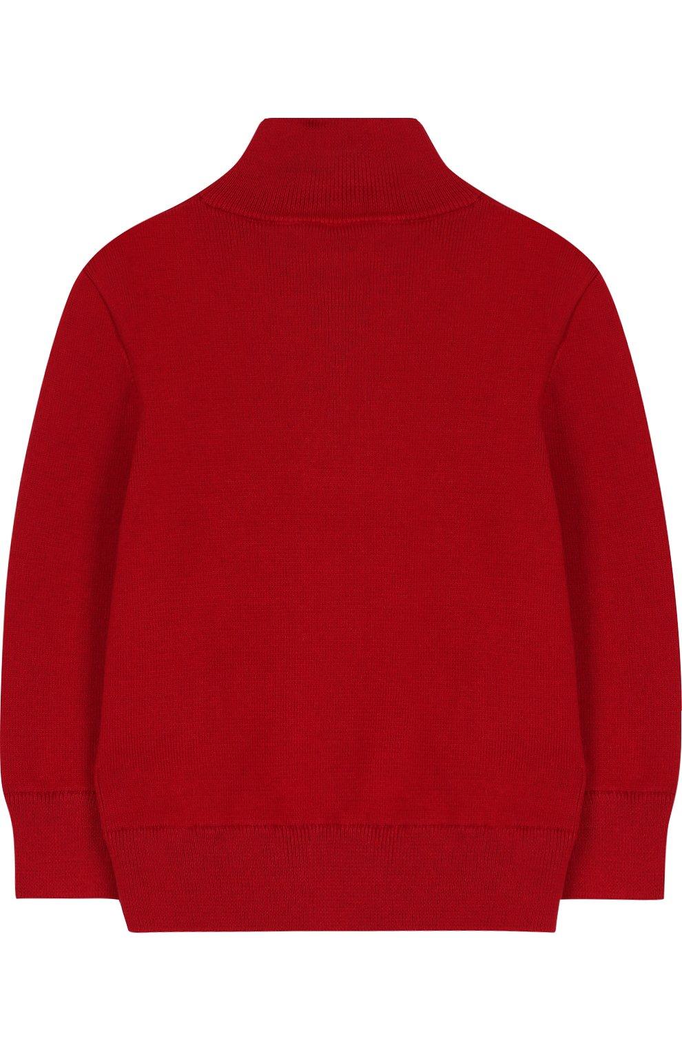 Вязаный свитер с логотипом бренда и воротником на молнии   Фото №2