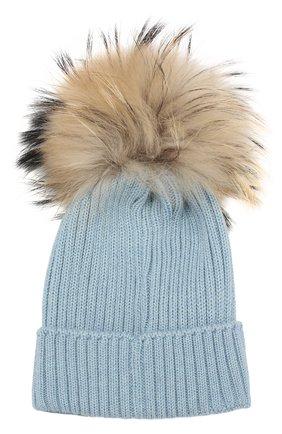 Комплект из шарфа и шапки Moncler Enfant голубого цвета | Фото №1