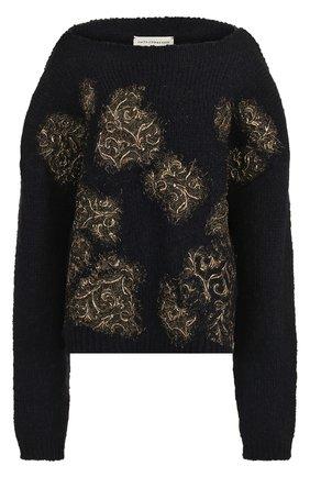 Пуловер фактурной вязки с вырезом-лодочка | Фото №1
