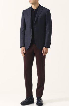 Шерстяные брюки прямого кроя Pal Zileri бордовые   Фото №1