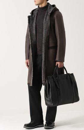 Мужская кожаная дорожная сумка GIORGIO ARMANI черного цвета, арт. Y2Q133/YAS6J | Фото 2