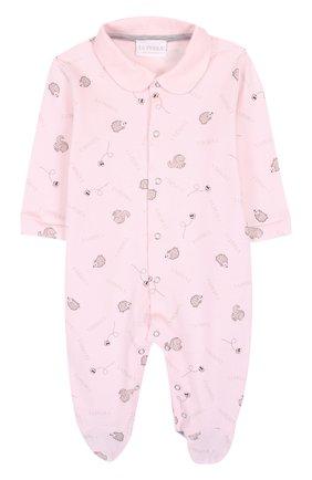 Детский хлопковая пижама с принтом LA PERLA розового цвета, арт. 52543/1M-12M | Фото 1