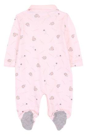 Детский хлопковая пижама с принтом LA PERLA розового цвета, арт. 52543/1M-12M | Фото 2