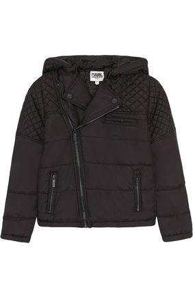 Стеганая куртка с капюшоном и косой молнией   Фото №1
